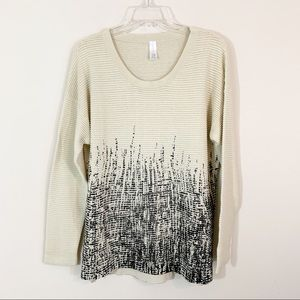 Marla Wynn • Beige & Black Ribbed Sweater 1X